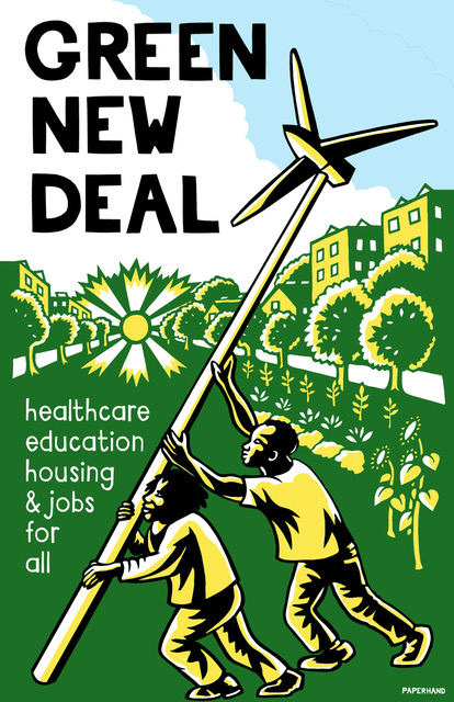 Green New Deal color papercut